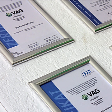 VAG Company certifications